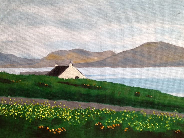 House by the Sea, Barra, Outer Hebrides - oil on canvas