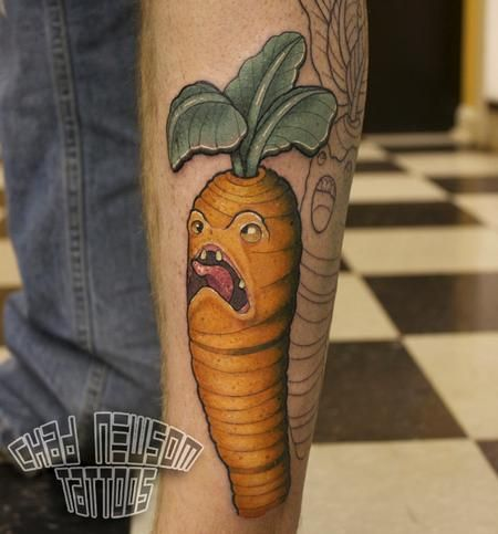 Cat Eating Watermelon Tattoo
