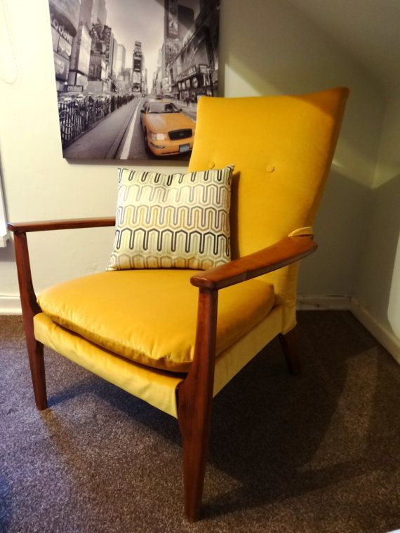 Mid Century Lounge Sessel 1960's Yellow Velvet Parker Knoll Bold And By Swankyseats