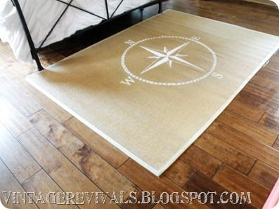 Compass painted on an Ikea rug.