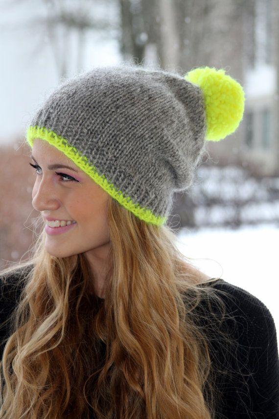 Slouchy Beanie, Icelandic wool hat, Grey, neon yellow pom pom, Cozy, Knit, Handmade, MADE TO ORDER