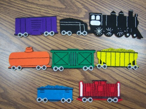 TRAIN PRINTABLES - copy these onto felt (or laminate them) & have a busy activity for a train fan that is easy to store in the purse! :)
