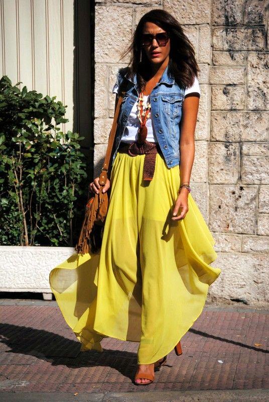 Yellow maxi dress with denim jacket.
