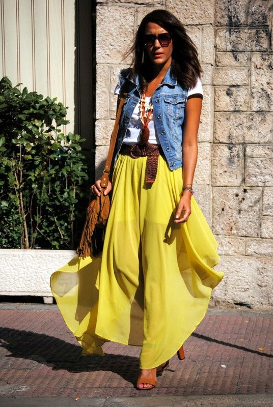 Yellow Maxi Skirt Forever21 Cute Outfit Pinterest