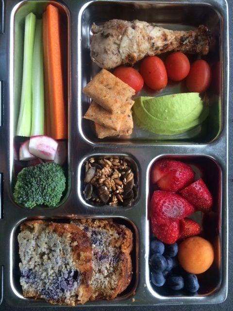 Veggies, fruit, drumstick, seeds, blueberry, lemon and oat loaf