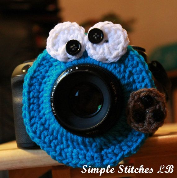 Cookie Monster Camera Lens Buddy by SimpleStitchesLB on Etsy