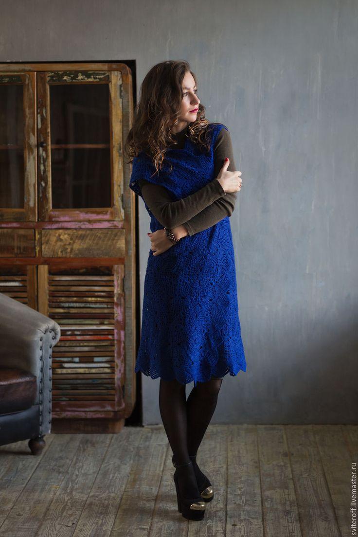 """Купить Вязаный женский длинный кружевной жилет ручной работы """"Ультрамарин"""" - тёмно-синий, Ультрамарин"""