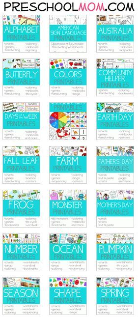 30+ Free Preschool Printables Themes Repinned by SOS Inc. Resources http://pinterest.com/sostherapy.