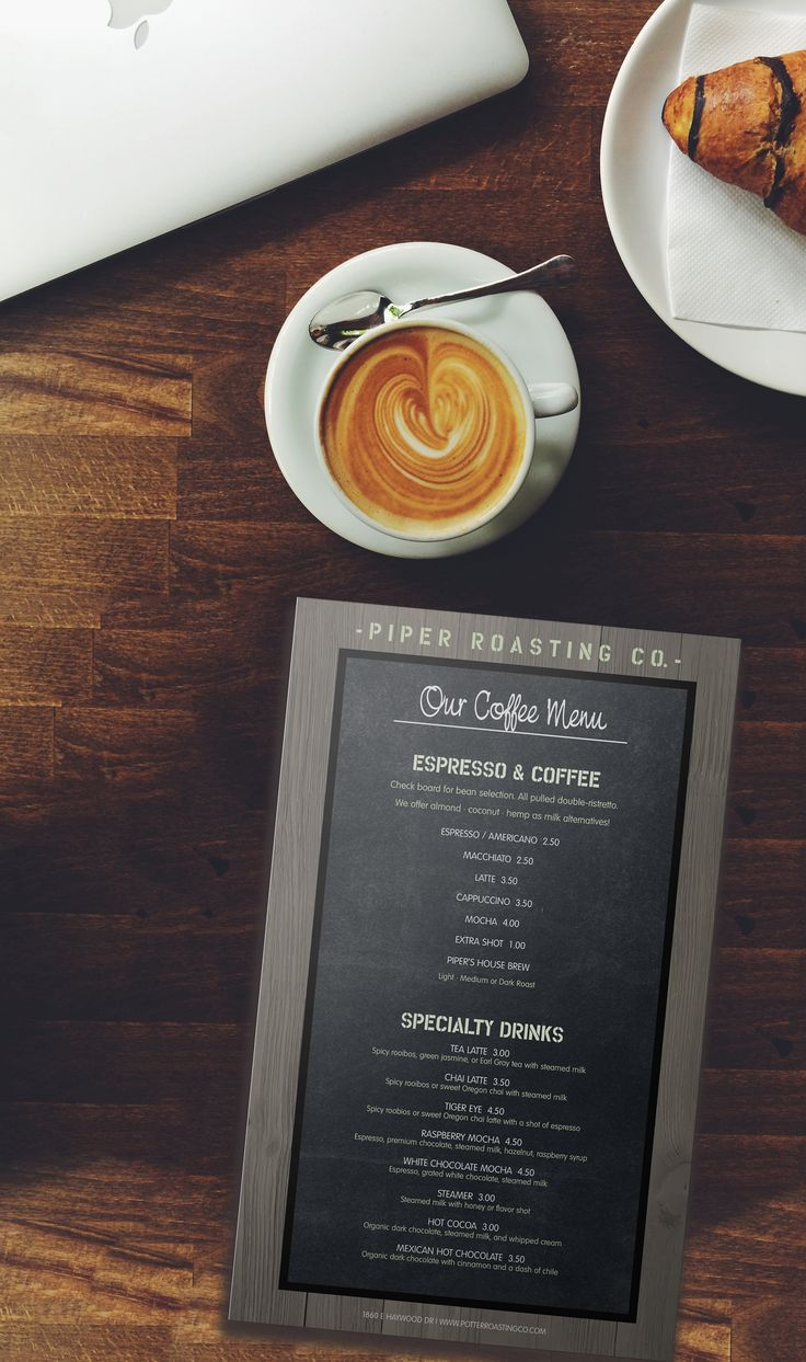 We love the smell of coffee in the morning!  The American Coffee Menu theme with it's hip, chalkboard design and rustic frame  has space for all your coffeehouse listings, including espresso, tea, sandwiches, bakery items and more. #loveyourmenu #menu #menudesign