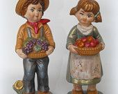 Vintage 1970's  Boy And Girl Holding Fruit Grapes Apple Baskets Ceramic Figurines from Ceramichrome No31 and No32