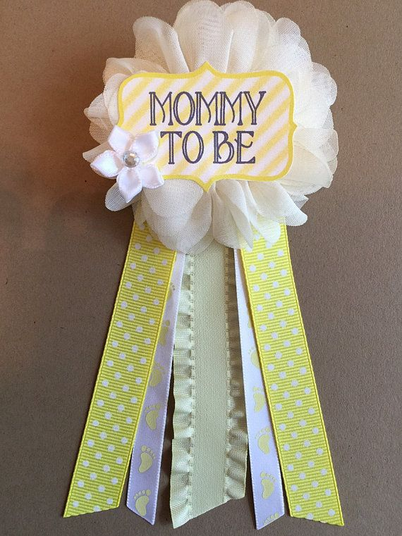 Yellow footprints Baby Shower Mommy-to-be Flower Ribbon Pin Corsage Glitter Rhinestone mom to be mommy to be pin mama gender neutral