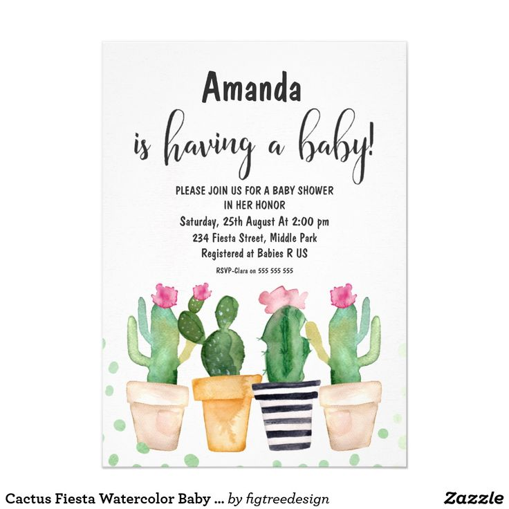 Cactus Fiesta Watercolor Baby Shower Invitation