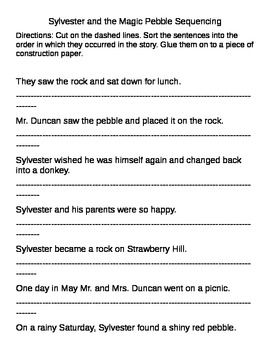 Use this worksheet to practice sequencing using the book Sylvester and the Magic Pebble.