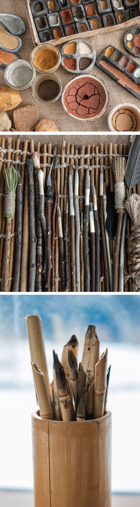 These lovely images are from a book called The Organic Artist by Nick Neddo. Learn to make natural paints, paper, paint brushes, and charcoal pencils made with branches!