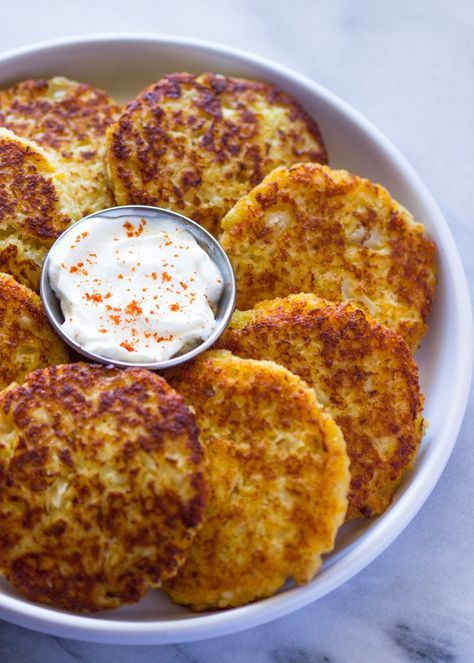Cauliflower Cheddar Fritters use ground pork rinds to replace bread crumbs