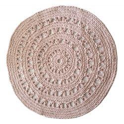 Rond Vloerkleed Crochet - Pastel / Zalm Roze 80cm