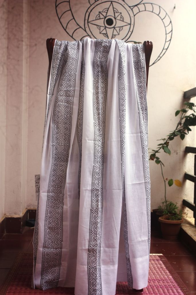 Mulmul cotton curtains with grey vertical design