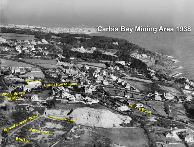 Wheal speed mine: Photo taken in 1938 of the Carbis bay area. The remains of an old engine house can be seen on the left, possibly Wheal Spe...