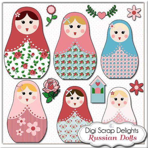 Matryoshka Clip Art - Vintage Rose Russian Nesting Dolls in Cath Kidston for Digital Scrapbooking, Card Making, Instant Download