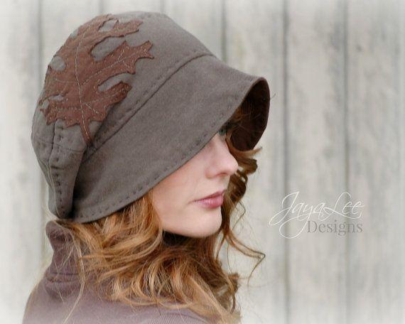 Brown Oak Leaf Slouchy Beanie Ha  Recycled T-shirt Hat