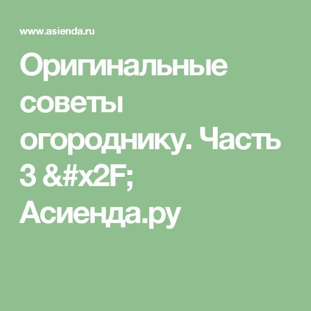 Оригинальные советы огороднику. Часть 3 / Асиенда.ру