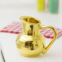 Miniature Brass Pitcher - What's New - Dollhouse Miniatures - Doll Making Supplies - Craft Supplies