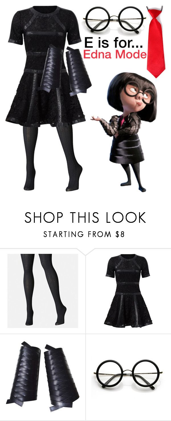 """""""E is for... Edna Mode"""" by am-fandom ❤ liked on Polyvore featuring Avenue, The Kooples, Christian Dior and ZeroUV"""