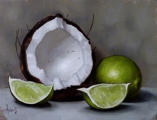 """Coconut  and  Two Slices of Lime"" - Original Fine Art for Sale - © Clinton Hobart"