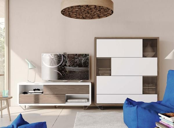 Natural Wall Storage System with TV Unit and Cabinet in wood and white finishes
