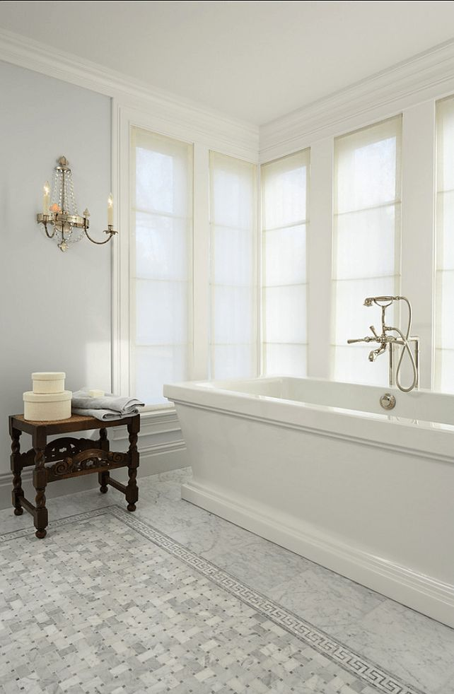 9 Fabulous Benjamin Moore Cool Gray Paint Colors - laurel home | Murphy Co. Design   Susan Gilmore [photo]    interior design – Marita Simmons | beautiful classic bathroom with pale gray walls and Carrera Marble