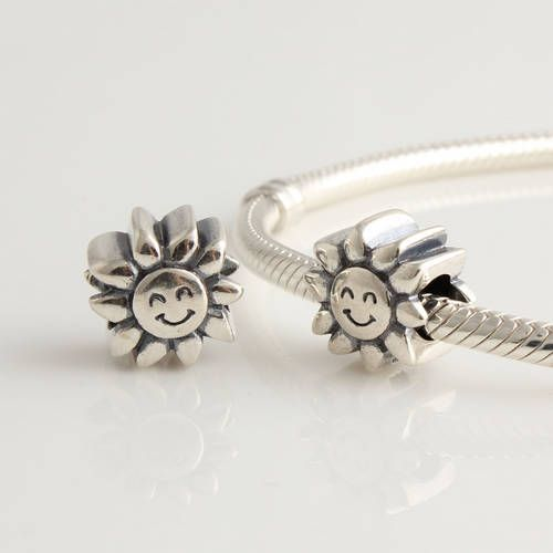 CLFJ296 925 Sterling Silver Sunflower Pandora Charms beads Jewelry on sale,for Cheap,wholesale
