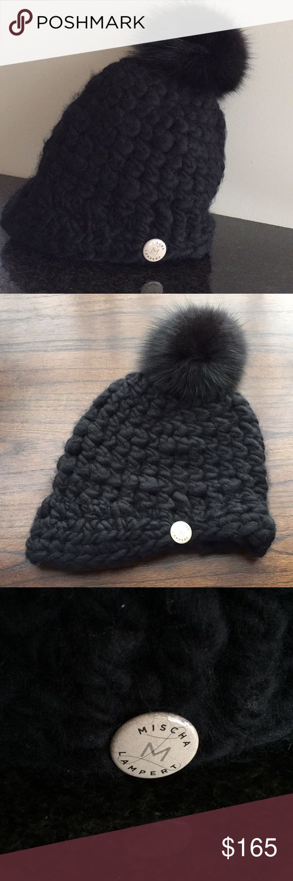 Mischa Lampert polo beanie Pom Pom hat New without tag. Polo beanie genuine fur pompom hat in chunky knit wool. Mischa Lampert Accessories Hats