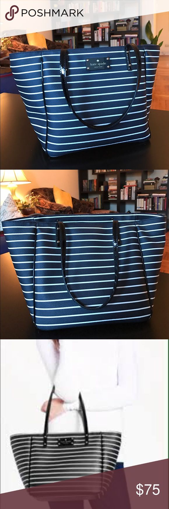Kate Spade City Stripe Sidney Tote Brand new navy & creme striped tote with patent leather straps. Interior zip and double side pockets. Perfect condition! kate spade Bags Totes