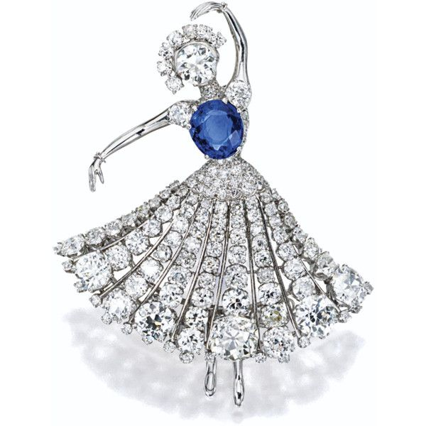 Sapphire and Diamond Ballerina Brooch, Van Cleef & Arpels, New York,... ❤ liked on Polyvore featuring jewelry, brooches, ballerina jewelry, diamond jewellery, sapphire jewellery, ballet jewelry and van cleef & arpels