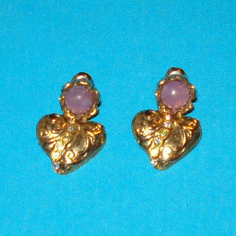 Gold Crystal Heart Earrings - Mookie Designs Vintage