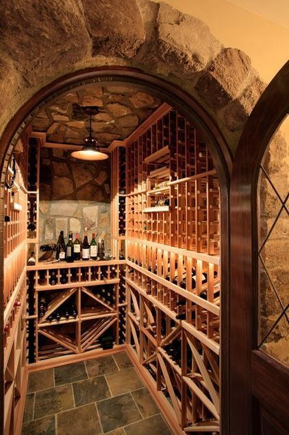 Combined Custom and Prefabricated Cellar    This is a classic wine cellar that uses prefabricated and custom components. Once again, the system used here is scalable, and probably what you're most used to seeing in a traditional wine cellar. The storage system is made of ready-to-order components that come in pine, cherry, redwood and mahogany.