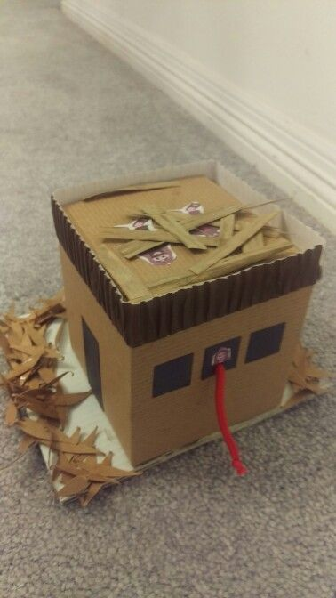 Day 2 VBS. Rahab's house standing amidst Jericho destruction. Spies hidden under flax on roof. Red cord hanging from window. Quick, easy, and inexpensive.