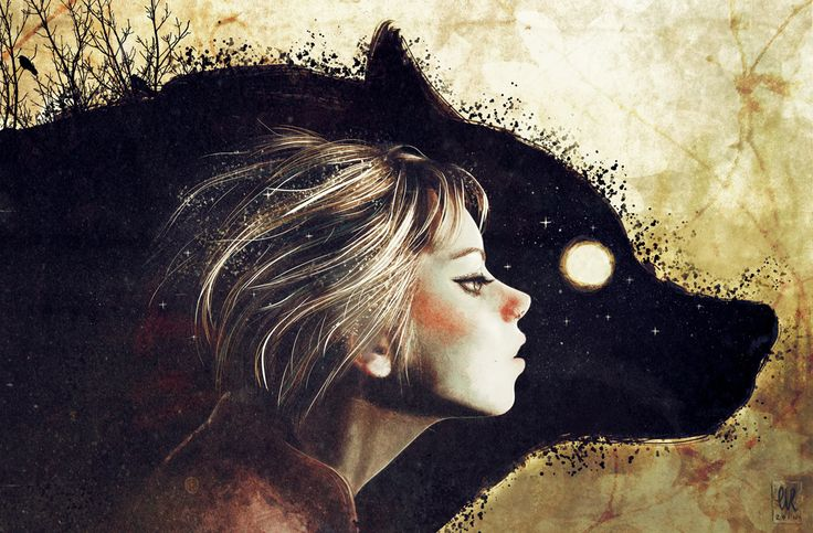 wolf girl blonde dreaming night illusion art drawing wolfgirl she-wolf
