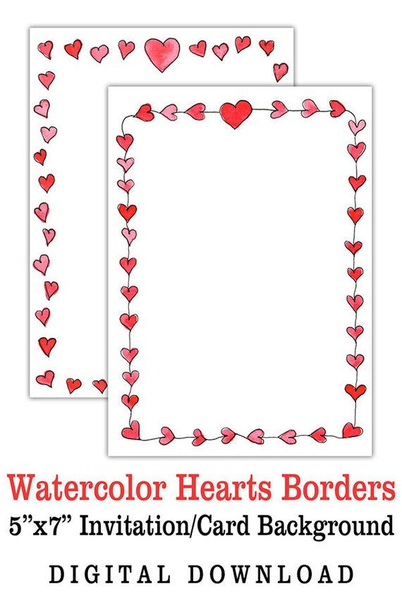 Printable Valentine S Day Watercolor Hearts 5 X 7 Card Border