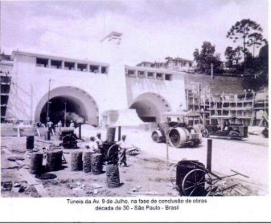 Década de 30 dos Túneis da Av. Nove de Julho em São Paulo/SP.