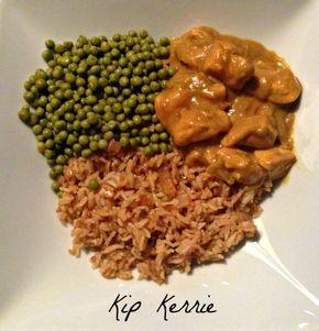 Rijst met kip en groente! Kip Kerrie!!