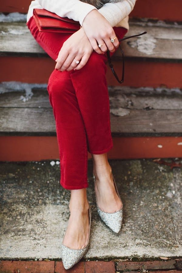holiday inspo: sparkly flats + red pants