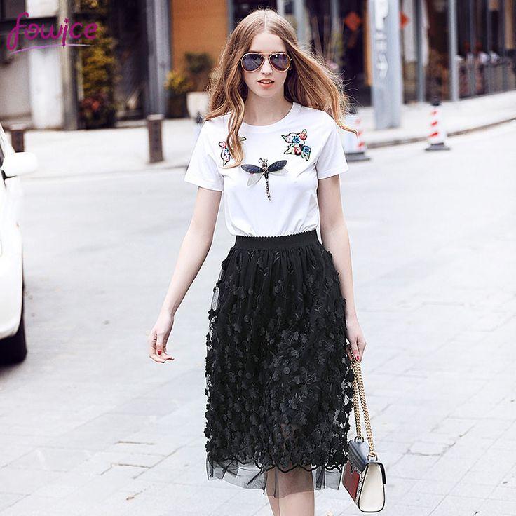 Black White Beaded Embroidered T Shirt And Skirt Set