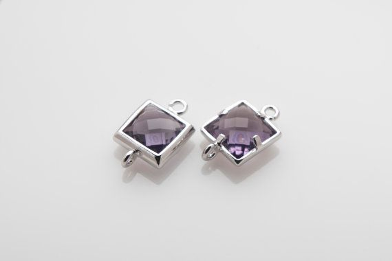 10% OFF For 10 Pieces Amethyst Glass Connector, Square Glass, Polished Rhodium Plated Over Brass - 2 pieces / SGLP0003G/AMETHYST/PR