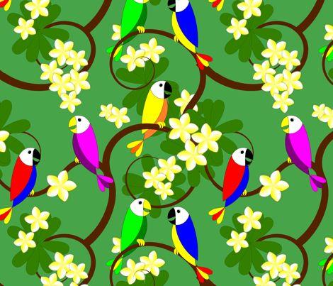Hawaiian Parrots and Plumeria Tree fabric by stephane on Spoonflower - custom fabric