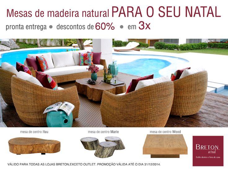 Que tal trazer para sua casa todo o charme dos móveis rústicos neste Natal? Adquira mesas de centro de madeira natural com PRONTA ENTREGA e descontos de 60%! #BretonActual #ProntaEntrega