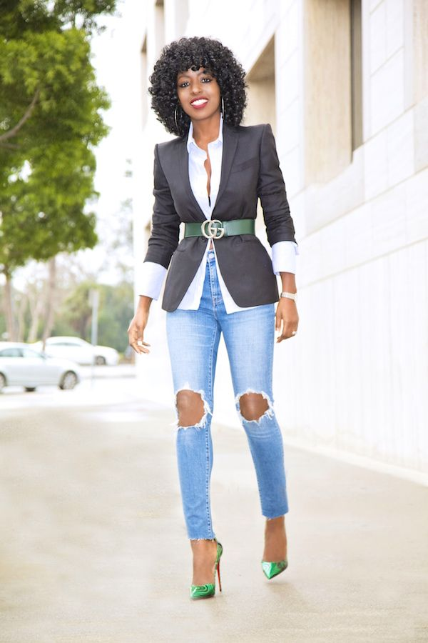 Classic Blazer + Button Down + Ripped Jeans