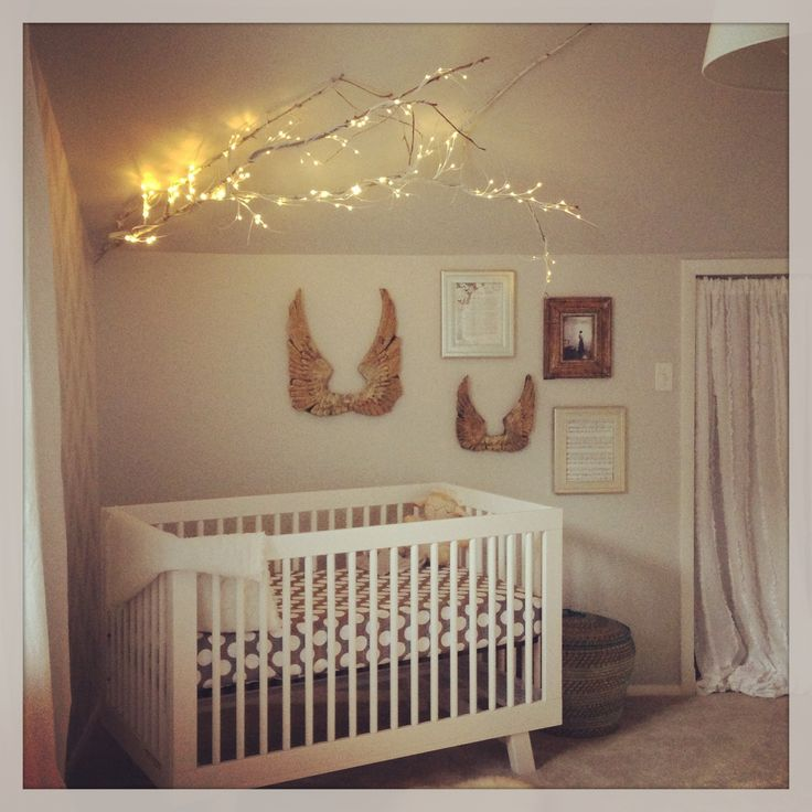 Angel Themed Design For A Baby Girl S Nursery: Vintage Chic Unisex Nursery Decor With Modern Crib, Land