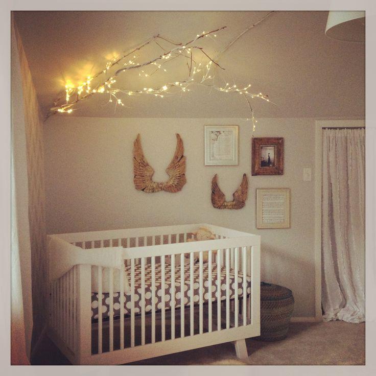 Vintage chic unisex nursery decor with modern crib land for Modern unisex nursery ideas