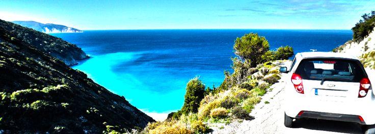 Myrtos beach from high up - Chevrolet Spark - beautiful kefalonia
